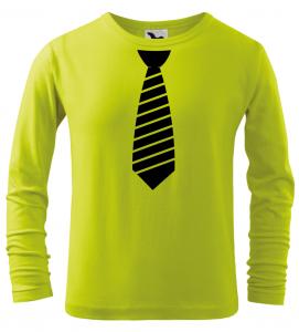 Dětské tričko s pruhovanou kravatou a dlouhým rukávem limetkové