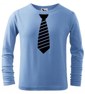 Dětské tričko s pruhovanou kravatou a dlouhým rukávem azurové