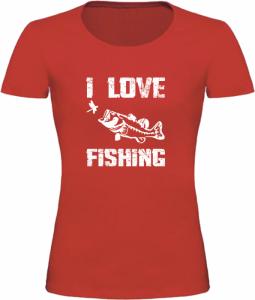 Dámské Rybářské tričko I Love Fishing červené