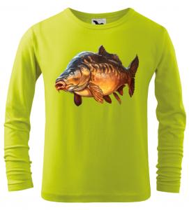Dětské rybářské tričko s dlouhým rukávem a barevným kaprem limetkové