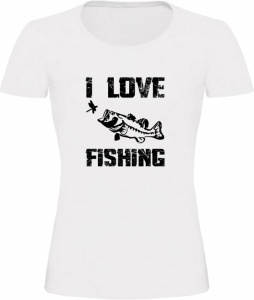 Dámské Rybářské tričko I Love Fishing bílé
