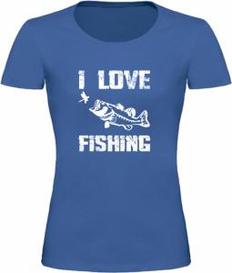 Dámské Rybářské tričko I Love Fishing modré
