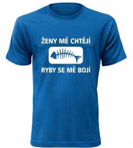 Pánské rybářské tričko Ženy mě chtějí modré