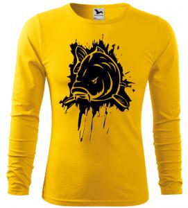 Pánské rybářské tričko s kaprem žluté long