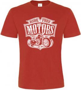 Pánské motorkářské tričko Ride Free Motors červené
