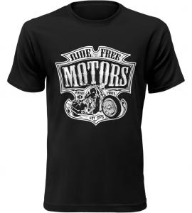 Pánské motorkářské tričko Ride Free Motors černé