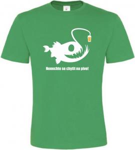 Pánské rybářské tričko POZOR na pivo zelené