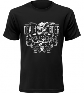 Pánské motorkářské tričko Never look back černé