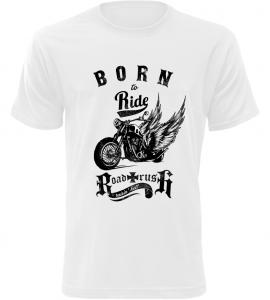 Pánské motorkářské tričko Born To Ride bílé