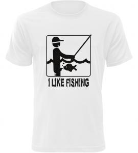 Pánské rybářské tričko I Like Fishing bílé