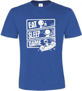 Pánské tričko JÍDLO SPÁNEK HRY modré