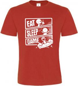 Pánské tričko JÍDLO SPÁNEK HRY červené