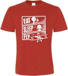 Pánské tričko JÍDLO SPÁNEK LÉTÁNÍ červené