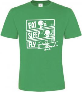 Pánské tričko JÍDLO SPÁNEK LÉTÁNÍ zelené