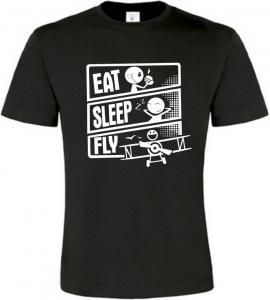 Pánské tričko JÍDLO SPÁNEK LÉTÁNÍ černé