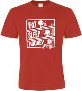 Pánské tričko JÍDLO SPÁNEK HOKEJ červené