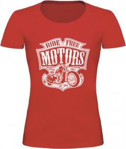 Dámské motorkářské tričko Ride Free Motors červené