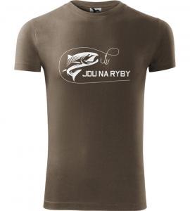 Pánské rybářské tričko Jdu na ryby army