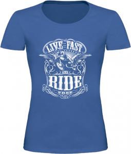 Dámské motorkářské tričko Live Fast Ride modré