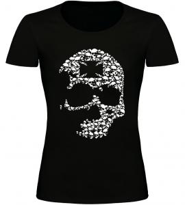 Dámské motorkářské tričko s lebkou černé