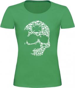 Dámské motorkářské tričko s lebkou zelené