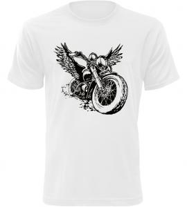 Pánské motorkářské tričko s motorkou bílé