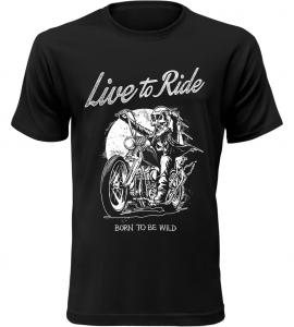 Pánské motorkářské tričko Born To Be Wild černé
