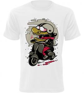 Pánské motorkářské tričko Šílenec na motorce bílé