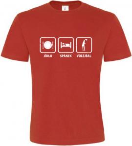 Pánské tričko Jídlo Spánek Volejbal červené