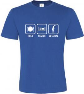 Pánské tričko Jídlo Spánek Volejbal modré