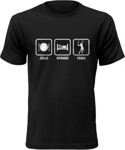 Pánské tričko Jídlo Spánek Tenis černé