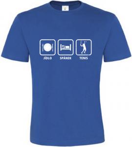 Pánské tričko Jídlo Spánek Tenis modré