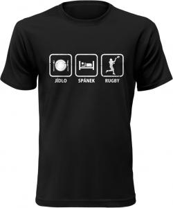 Pánské tričko Jídlo Spánek Rugby černé