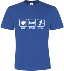 Pánské tričko Jídlo Spánek Hokej modré
