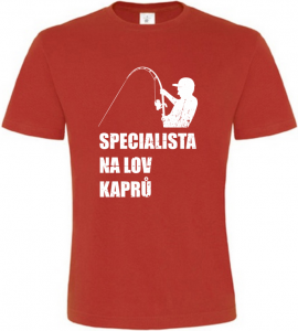 Pánské rybářské tričko Specialista na kapry červené
