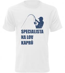 Pánské rybářské tričko Specialista na kapry bílé