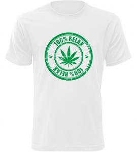 Pánské tričko 100% Relax THC bílé