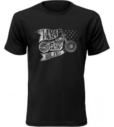 Pánské motorkářské tričko Live Fast Ride Free černé