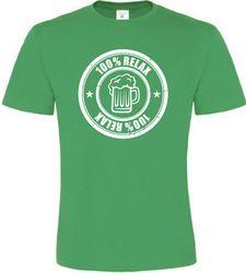 100% Relax BEER zelené tričko pánské