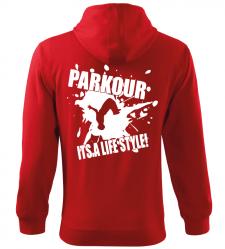 Pánská a dětská mikina Parkour je můj život červená