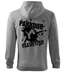 Pánská a dětská mikina Parkour je můj život melír